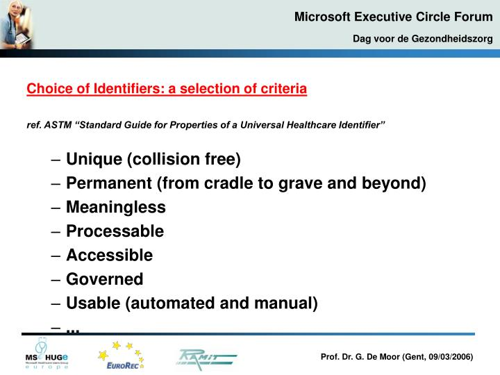Choice of Identifiers: a selection of criteria