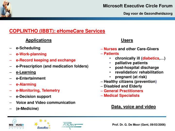 COPLINTHO (IBBT): eHomeCare Services