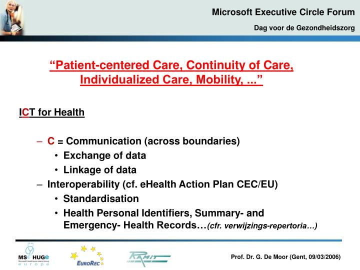 """Patient-centered Care, Continuity of Care, Individualized Care, Mobility, ..."""