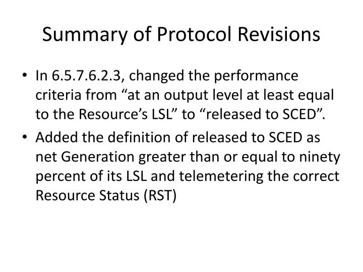 Summary of Protocol Revisions