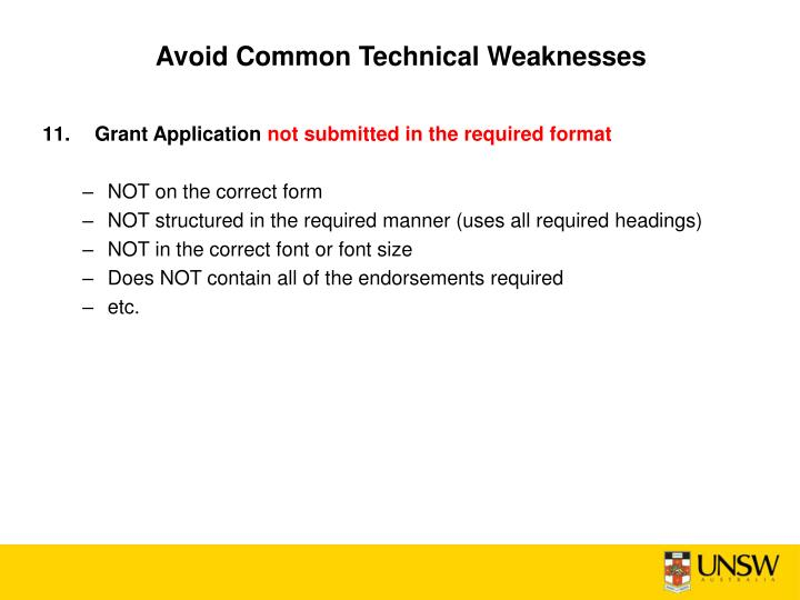 Avoid Common Technical Weaknesses