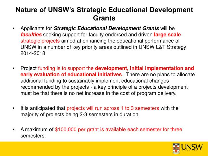 Nature of unsw s strategic educational development grants