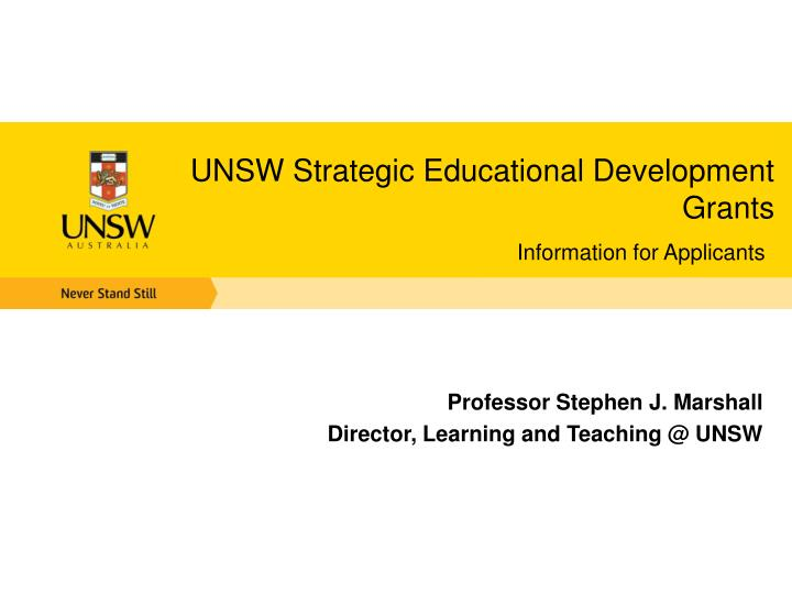 UNSW Strategic Educational Development Grants