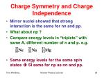 charge symmetry and charge independence