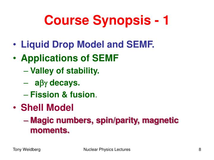 Course Synopsis - 1