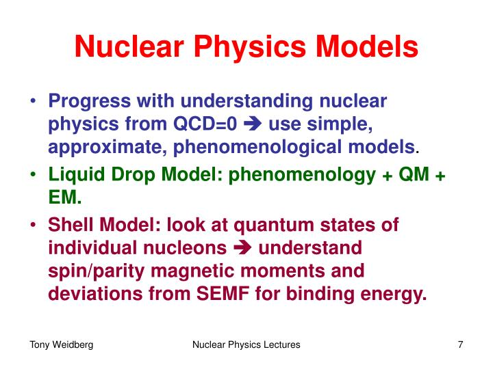 Nuclear Physics Models