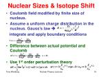 nuclear sizes isotope shift