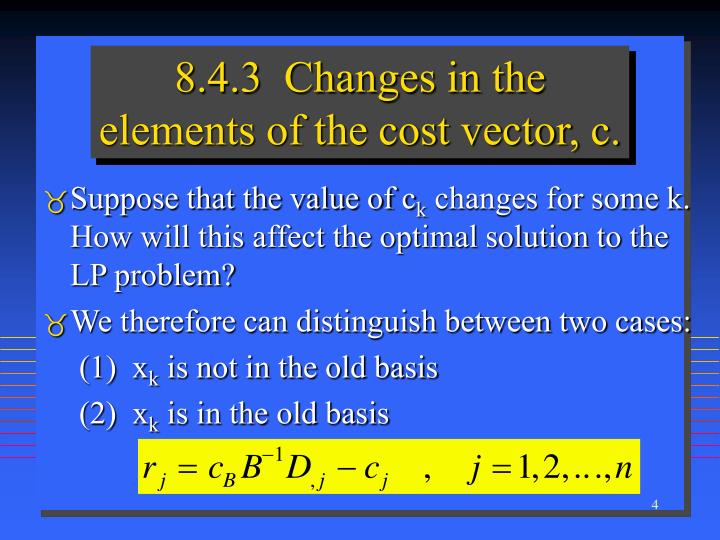 8.4.3  Changes in the elements of the cost vector, c.