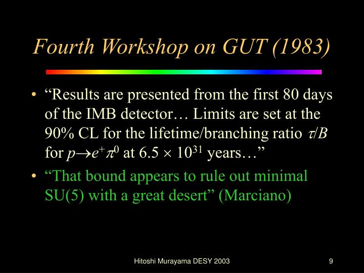 Fourth Workshop on GUT (1983)