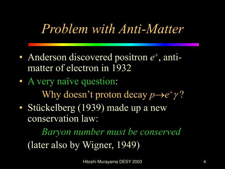 Problem with Anti-Matter