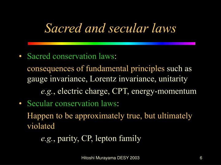 Sacred and secular laws