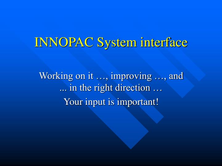 INNOPAC System interface