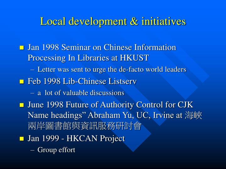 Local development & initiatives