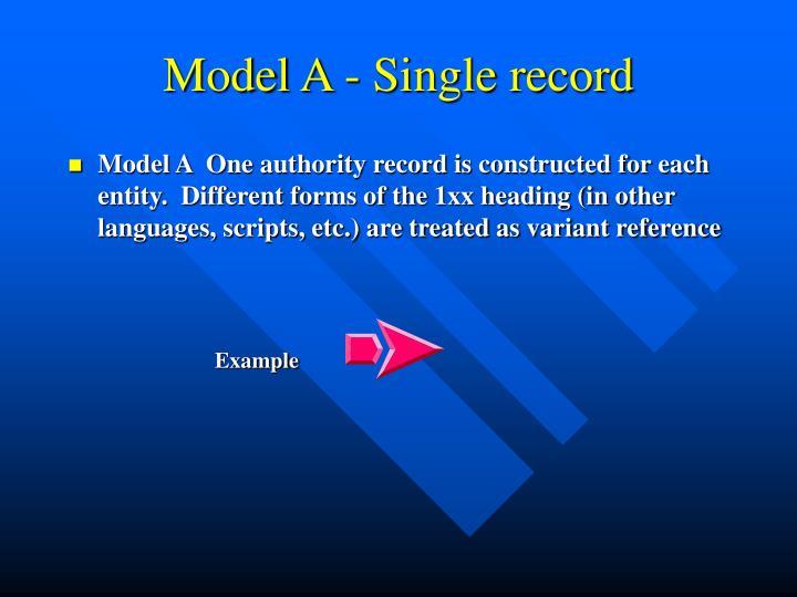 Model A - Single record