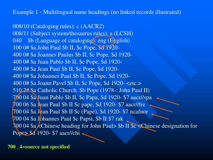 Example 1 - Multilingual name headings (no linked records illustrated)