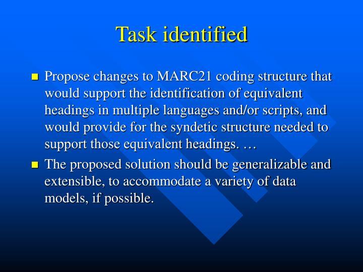 Task identified