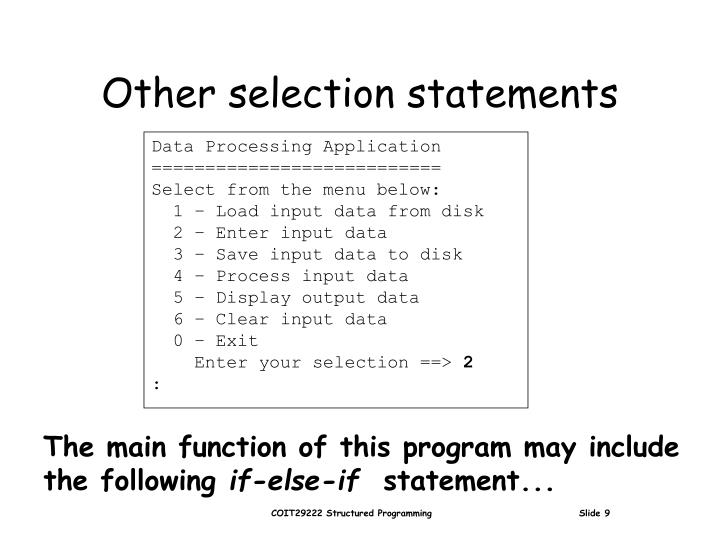 Other selection statements