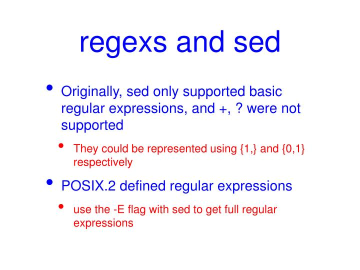 regexs and sed