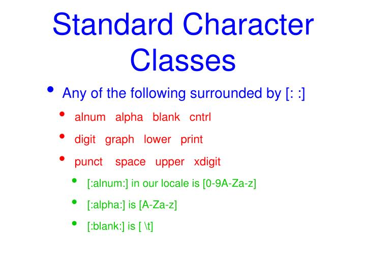 Standard Character Classes