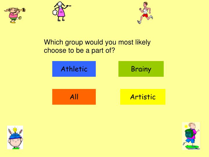 Which group would you most likely choose to be a part of?