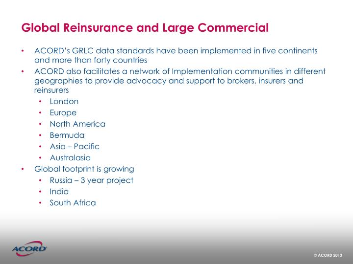 Global Reinsurance and Large Commercial