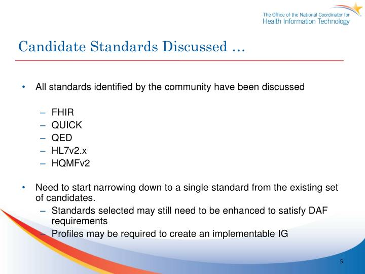 Candidate Standards Discussed …
