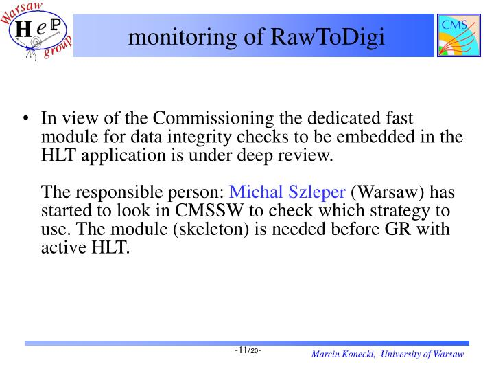 monitoring of RawToDigi