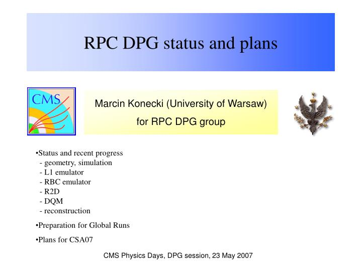 Rpc dpg status and plans1