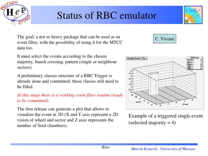 Status of RBC emulator