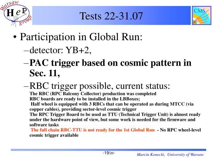 Tests 22-31.07