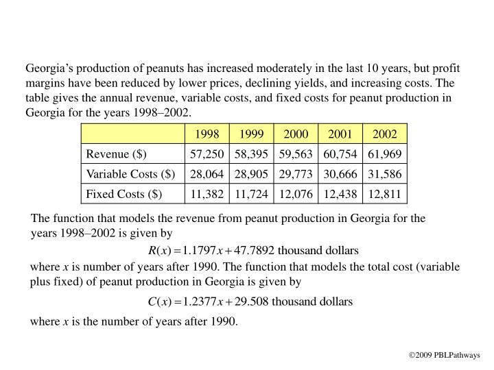 Georgia's production of peanuts has increased moderately in the last 10 years, but profit margins ...