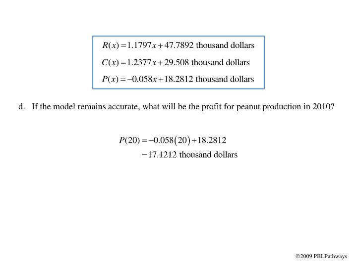 If the model remains accurate, what will be the profit for peanut production in 2010?