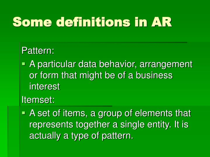 Some definitions in AR