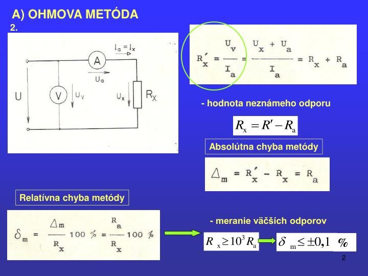 A) OHMOVA METÓDA