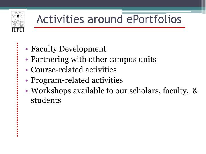 Activities around ePortfolios