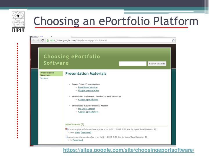Choosing an ePortfolio Platform
