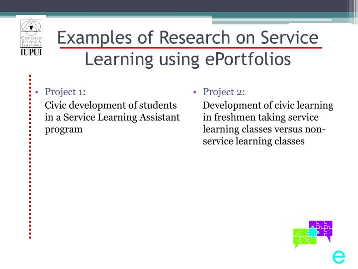 Examples of Research on Service Learning using ePortfolios