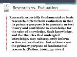 research vs evaluation