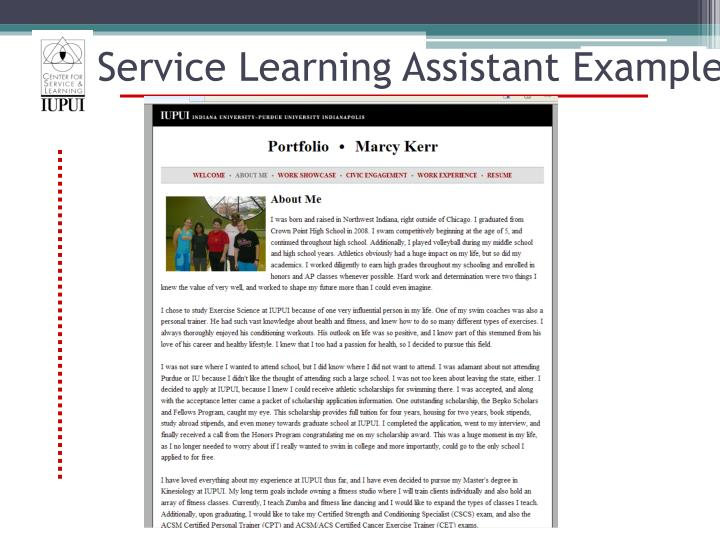 Service Learning Assistant Example