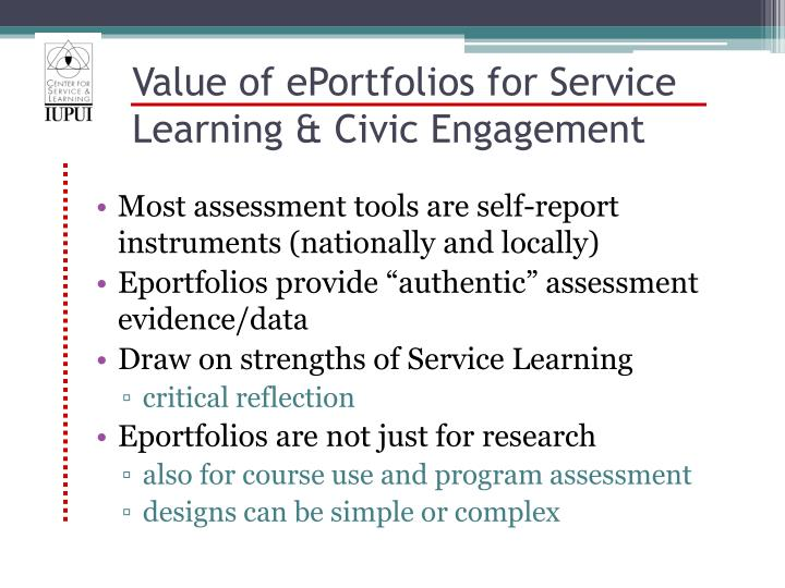 Value of ePortfolios for Service Learning & Civic Engagement