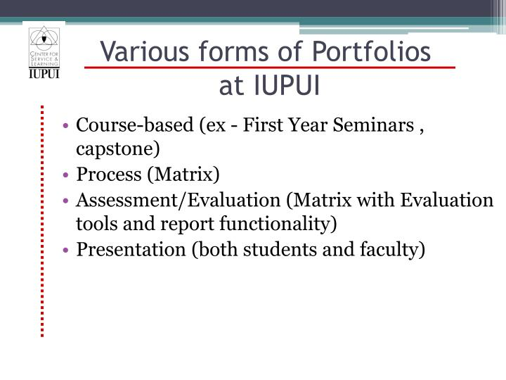 Various forms of Portfolios