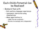 each child s potential can be realized