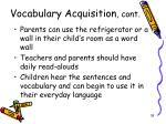 vocabulary acquisition cont