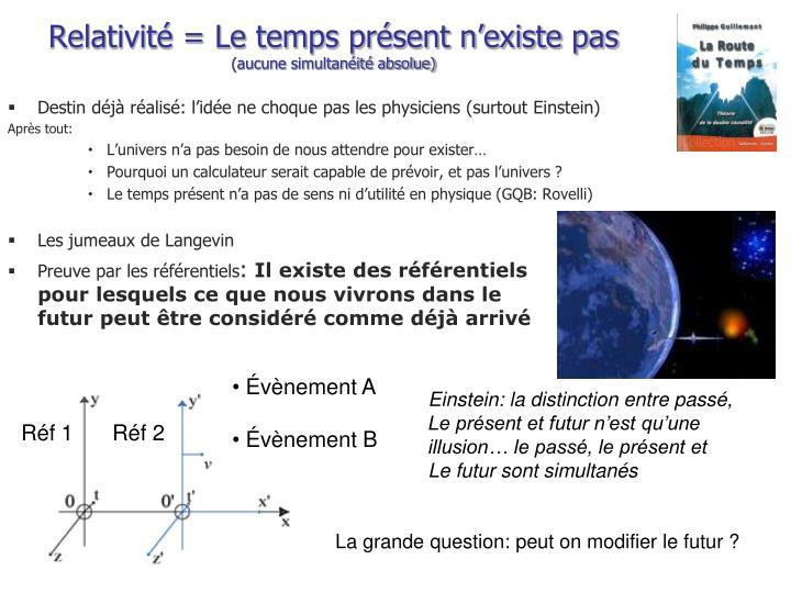 Relativité = Le temps présent n'existe pas