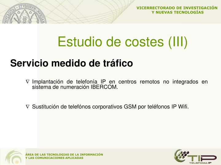Estudio de costes (III)