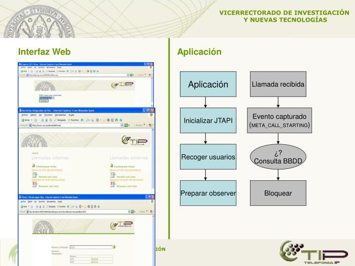 Interfaz Web       Aplicación