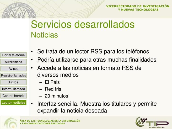 Servicios desarrollados