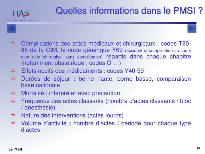 Quelles informations dans le PMSI ?
