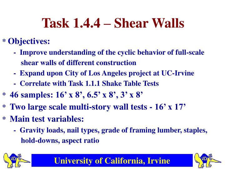Task 1.4.4 – Shear Walls
