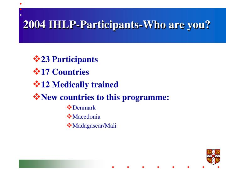 2004 IHLP-Participants-Who are you?